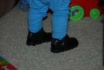 Sean's Uncle Philip bought him these awesome Air Jordan's in NYC this past weekend!  He already had his PJ's on, but he wanted to wear his new shoes :-)