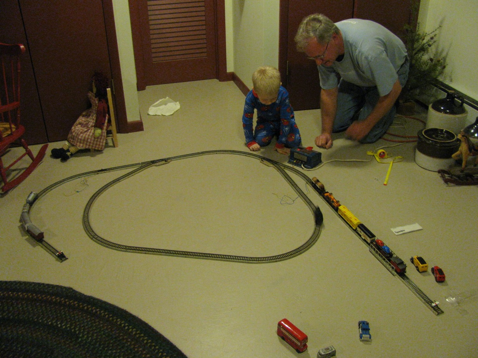 Sean and Opa playing with Opa's old train set.  Uncle Brian was not pleased to hear about this activity :)