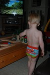 Sean hangin' out in his underwear, playing trains.
