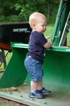 Checking out Opa's tractor